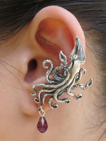 Kraken Squid Ear Cuff with Swarovski Briolette Drop - Silver