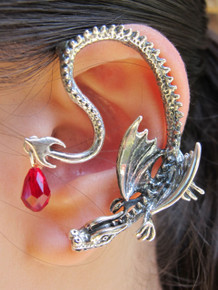 Throne Dragon Ear Wrap with Swarovski Briolette Drop - Silver