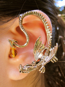 Throne Dragon Ear Wrap with Swarovski Briolette Drop - Bronze