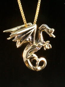 Gold Fire Dragon Charm - 14k Gold