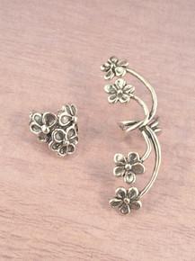 EAR CUFF SPECIAL Flower Ear Cuff Combo Silver - Buy 2 Get 1 Ear Cuff Free