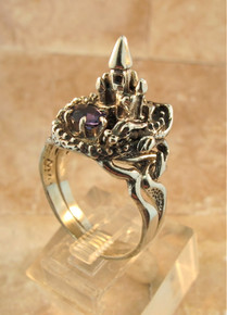 Castle Dragon Ring with Iolite