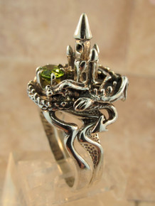 Castle Dragon Ring with Peridot