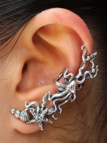 Poseidon's Gift - Octopus and Starfish Ear Cuff Silver