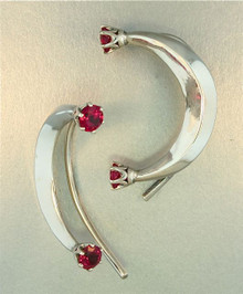 Celebrity Style Crescent Ear Wrap with Red CZ's