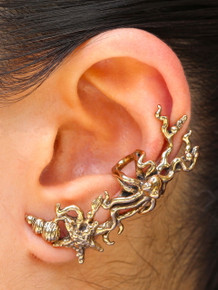 Poseidon's Gift - Octopus and Starfish Ear Cuff - Bronze
