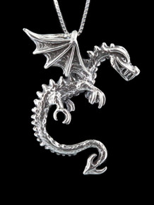 Dragon - Spike Dragon Pendant - Silver