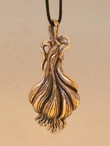 Large Bronze Garlic Pendant