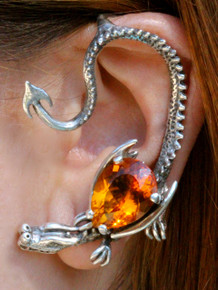 Throne Dragon Ear Wrap with Pear Shaped Citrine - Silver