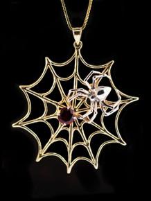 Gold Spider Web Pendant with Garnet - 14k Gold