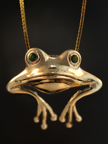 Gold - Good Luck Frog Pendant - 14k Gold