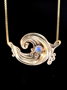 Gold Rip Curl Wave Pendant - 14k Gold w/Rainbow Moonstone