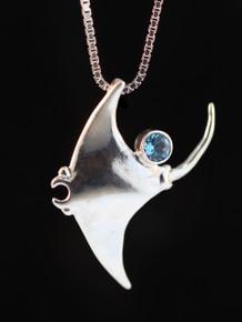 Manta Ray Charm Pendant w/Gemstone- Silver