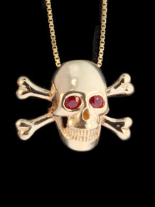 Pirate - Large Skull and Crossbone Pendant w/Ruby Eyes 14k Gold