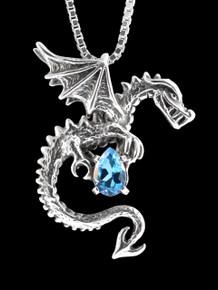 Spike Dragon Pendant w/Blue Topaz