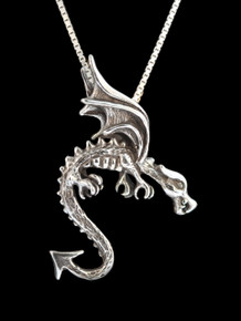 Vintage Swooping Dragon Pendant - Silver