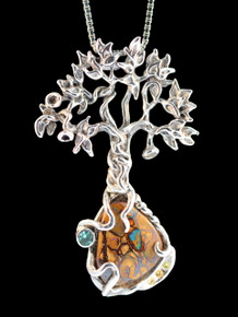 Primeval Forest Tree Pendant #2 with Apatite and Sapphires - Silver