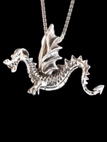 Vintage Happy Wyvern Dragon - Silver