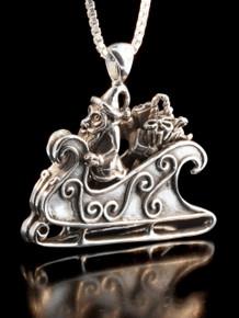 Santa and Sleigh Pendant - Silver