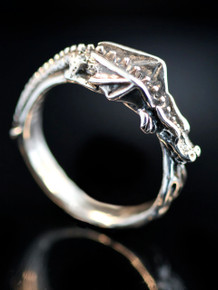 Flame Dragon Ring Band - Silver