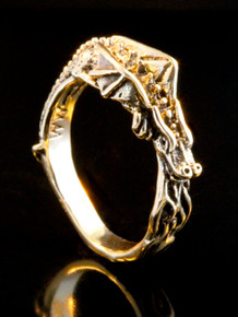 14k Gold Flame Dragon Ring