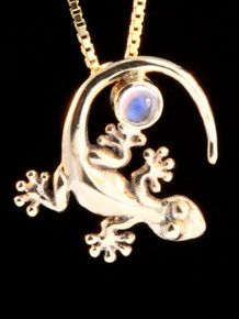 Rainforest Gecko with Moonstone Charm - 14k Gold