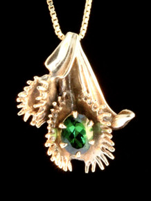 Fly and Venus Flytrap Pendant with Green Tourmaline -14k Gold