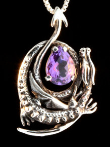 Curled Dragon Pendant with Amethyst