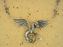 Dragon - Spread Winged Dragon Neckpiece with Dragon Link Chain