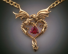 Gold Dragon Heart Pendant with Nigerian Rubelite Tourmaline - 14k Gold