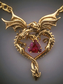 14k gold dragon heart pendant with nigerian rubelite tourmaline