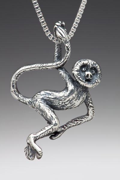 rainforest jewelry - spider monkey charm