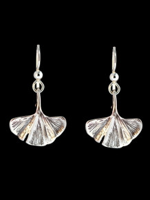 Ginkgo Leaf Earrings - Silver