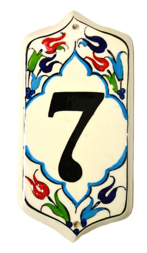 Hand Painted Ceramic House Number 7