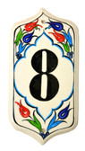 Hand Painted Ceramic House Number-8