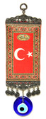 Turkish Flag with Glass Evil Eye