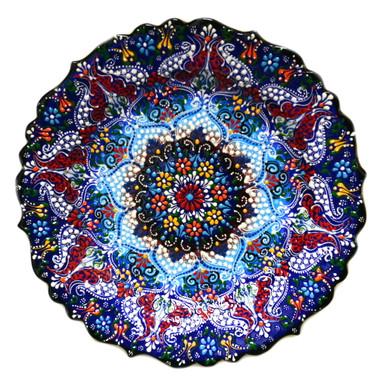Image 1  sc 1 st  Nazar Turkish Imports & Turkish Ceramics~Hand Painted Ceramic Plate~Navy~12inch - Nazar ...