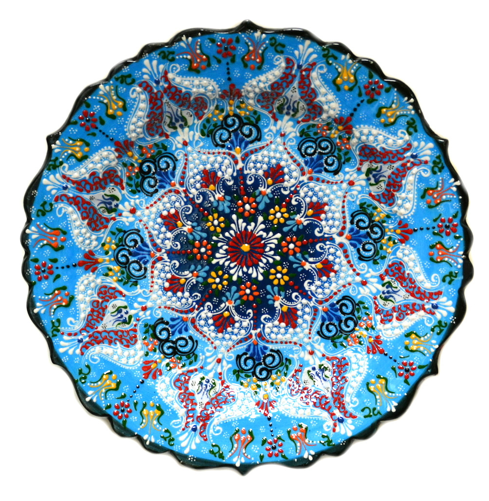 Turkish Ceramics Hand Painted Ceramic Plate Blue 12inch