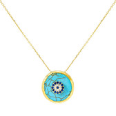 925 Sterling Silver-Turquoise Round Pendant Necklace-gold finish