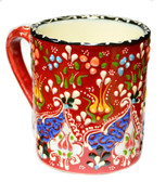 Hand Painted Ceramic Mug-red
