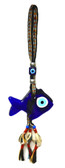 Glass Fish Evil Eye Wall Decor-with handwoven wool strap