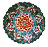 Turkish Ceramics~Hand Painted Ceramic Plate~dark green~12inch