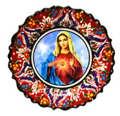 Turkish Ceramics-Ikona Series-Mary-red plate-diameter: 7inch (18cm)