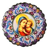 Turkish Ceramics-Ikona Series-Mary and Baby Jesus-plate diameter: 7inch (18cm)