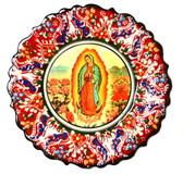 Turkish Ceramics-Ikona Series-Guadalupe-red plate-diameter: 7inch (18cm)