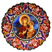 Turkish Ceramics-Ikona Series-Virgin Mary & Baby Jesus-Byzantine-diameter: 7inch (18cm)