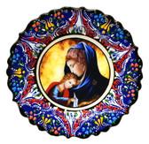Turkish Ceramics-Ikona Series-Virgin Mary & Baby Jesus-navy plate-diameter: 7inch (18cm)