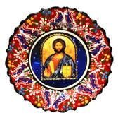 Turkish Ceramics-Ikona Series-Jesus-red plate-diameter: 7inch (18cm)