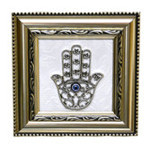 Hamsa Wall Decor-silver color frame-white background