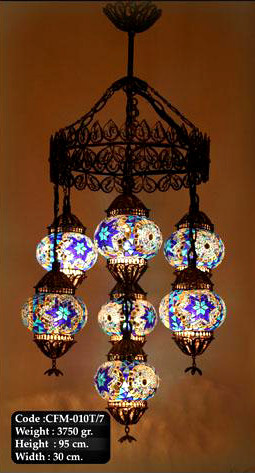 Glass Mosaic Chandelier 3 Nazar Turkish Imports